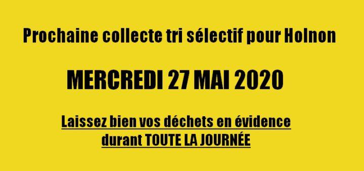 Prochaine collecte tri sélectif Holnon - 27 mai 2020