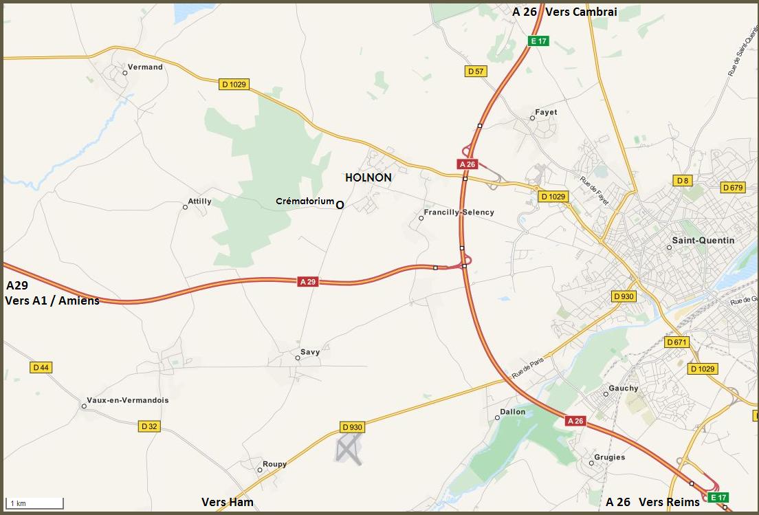 plan d'accès crématorium Holnon