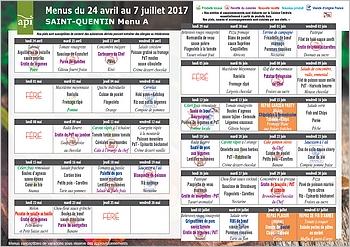 Menus cantine d'avril à juillet 2017