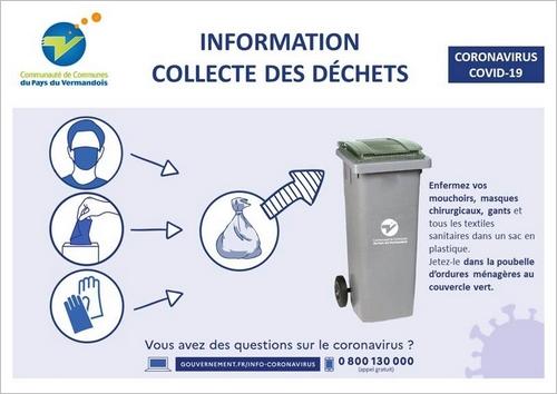 Coronavirus - COVID-19 - Information collecte des déchets