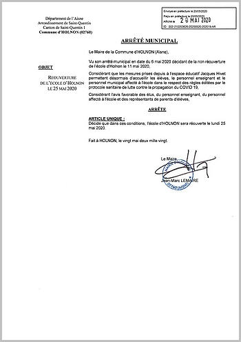 Arrêté réouverture école Holnon - 25 mai 2020