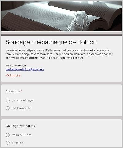 Sondage médiathèque d'Holnon - 2020